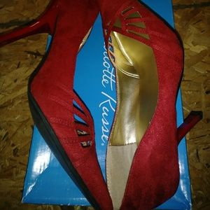 CHARLOTTE RUSSE Woman's Faux Red Suede Stiletto